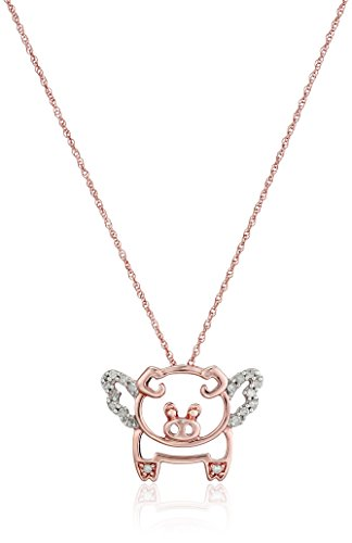10k Rose Gold Diamond Flying Pig Pendant Necklace (1/10 cttw, I-J Color, I2-I3 ()