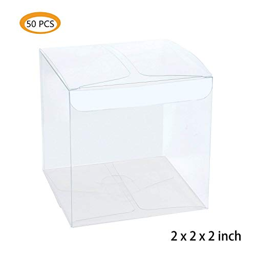 Lot of 50pcs 2x2x2 inches ( 5x5x5cm ) Clear Plastic Candy Gift Boxes Thick PVC Anti Scratch Holiday Wedding Party Favor
