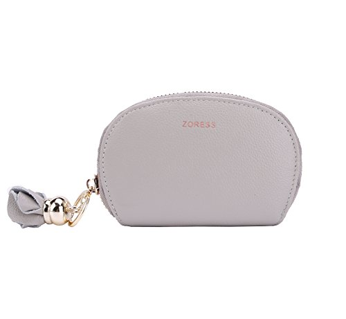 ZORESS Womens RFID Blocking Credit Card Case Genuine Leather Flower Zip Card Holder (Zip Card)