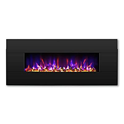 """TURBRO Reflektor 42"""" 1400W Electric Firepalce Wall Mounted, Freestanding Fireplace Heater with Reversible Solid Wood FA?ade, 7-Color Lighting Flame, Remote Control"""