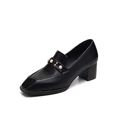 BalaMasa Womens Studded Beaded Casual Black Urethane Pumps Shoes APL10708-4 B(M) US