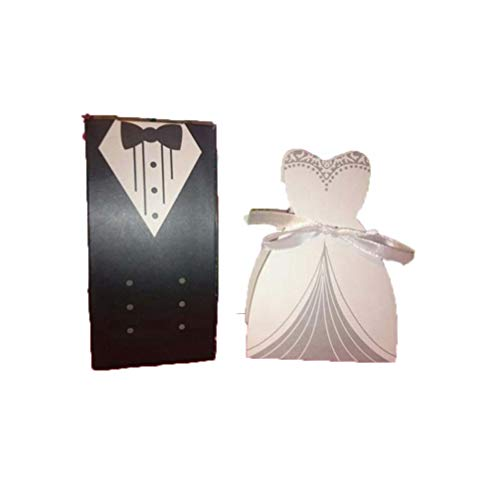MEIZOKEN 50pc/Set Candy Favor Theat Boxes Bridal Gift Cases Groom Tuxedo Dress Gown Ribbon Wedding Favor Candy Box Wedding Favors and Gifts