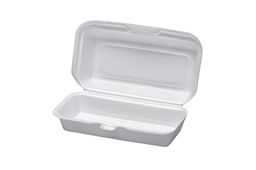 Foam Carry Out Containers - Dart 72HT1, 7x4x2-Inch Performer White Hot Dog Foam Container with Removable Hinged Lid, Take-Out Disposable Sandwich Snack Containers (100)