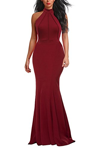 Berydress Women's Mermaid Formal Gown Slim Fitted Bodycon Maxi Wedding Party Cocktail Long Dress (M, (Halter Wedding Gown Dress)