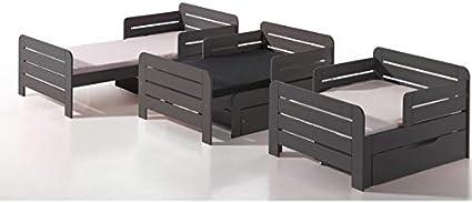 Alfred & Compagnie EVOLUTIF LEÏA - Cama evolutiva, 90 x 140-170-200, color gris topo