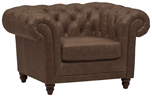 Stone & Beam Bradbury Chesterfield Tufted Leather Accent Arm Chair, 50″ Chestnut Brown