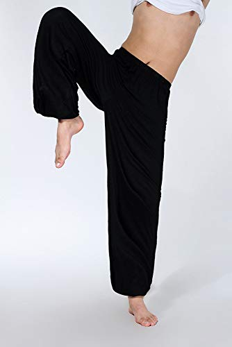 Hippie Jogger Da In Pant Allentato Morbido Bloomer Nero Con Donna Pantalone Hibasing RTE05qwxf