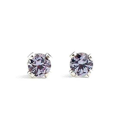 3mm Tiny Color Changing Light Purple to Green Alexandrite Gemstone Stud Earrings in Sterling Silver - June Birthstone ()