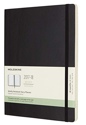 Moleskine Classic 18 Month 20172018 Weekly Planner Soft Cover XL 75quot x 95quot Black
