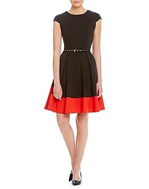 Calvin Klein Red Women's Sheath Stretch Belted Dress Black 6