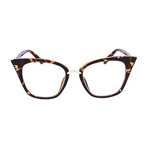 Beison Womens Cat Eye Mod Fashion Eyeglasses Frame Clear Lens (Leopard, 52)