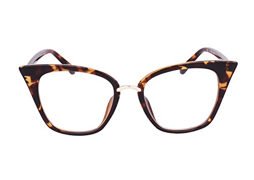 Beison Womens Cat Eye Mod Fashion Eyeglasses Frame Clear Lens (Leopard, - Glasses Cat Frame Eye Large