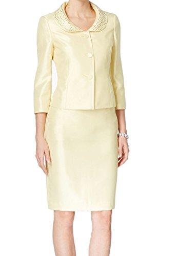 (Kasper Lemon Ice Women Jeweled Collar Skirt Suit Set (18, Lemon Ice))
