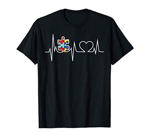 Autism Puzzle Heartbeat Tshirt - Autism Awareness Shirts