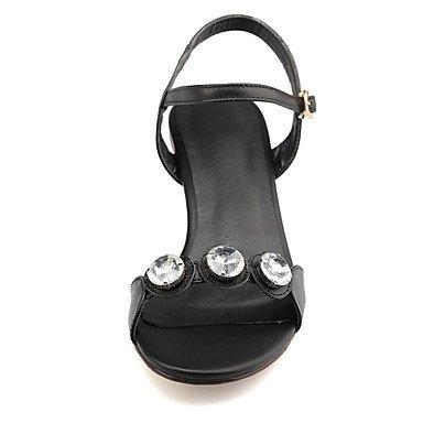 LvYuan Tacón Robusto-Zapatos del club-Sandalias-Oficina y Trabajo Vestido Fiesta y Noche-Cuero Microfibra-Negro Oro Black