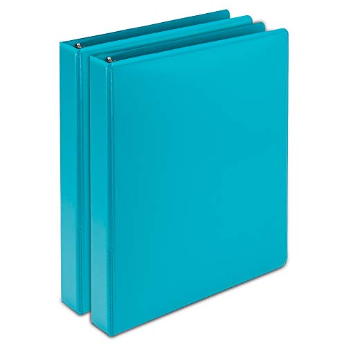 Samsill Earth's Choice Biobased Durable Fashion Color 3 Ring View Binder, 1 Inch Round Ring, Up to 25% Plant Based Plastic, USDA Certified Biobased, Turquoise, Value Two - Samsill 3 Ring Vinyl