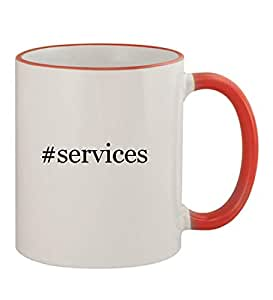 #services - Funny Hashtag 11oz Red Handle Coffee Mug Cup