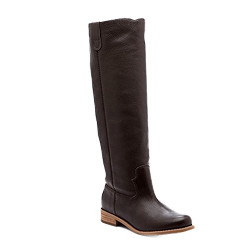 On Brown Womens Boots Flat High Biker Slip Heel Xianshu Block Knee Boots wF1xY4qP
