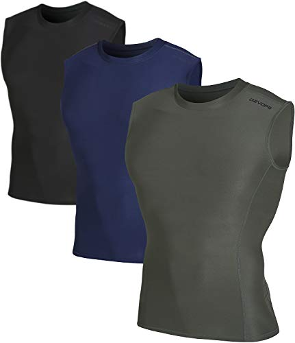 DEVOPS Men's 3 Pack Cool Dry Athletic Compression Baselayer Workout Sleeveless Shirts (Small, Black-Khaki-Navy)