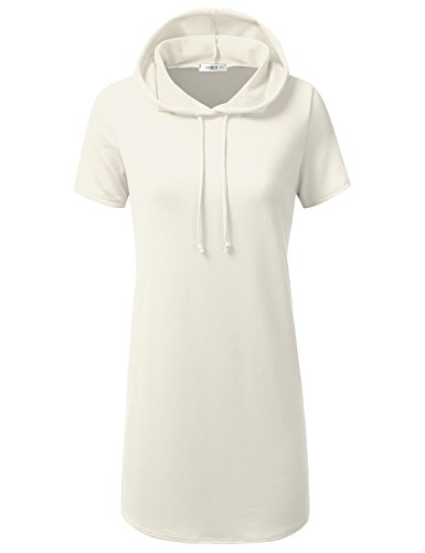 Doublju Loose Fit Hoodie Tunic Dress Hoodie Sweatshirts For Women With Plus Size (Made In USA) Ivory (Terry Beach Dress)