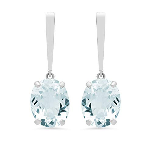 14k White Gold Solitaire Oval-Cut Aquamarine Drop Earrings (10x8mm)