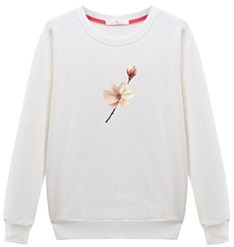 LemonGirl Mujeres Sudadera con capucha Hooded Pullover Tops Blusa White