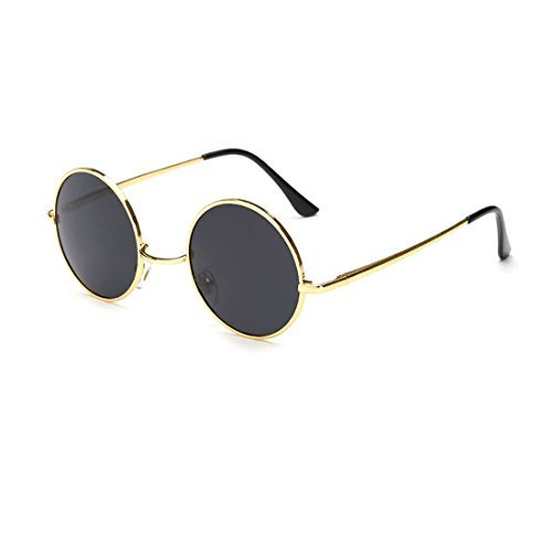 Unisex Classic Round Lennon Inspired Style Polarized Metal Goggle Sunglasses - Shopping Online For Men Cooling Glass