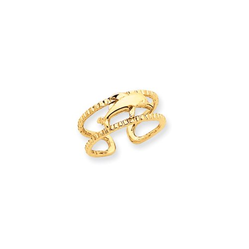 Dolphin Toe Ring in 14K Yellow Gold - Toe Gold 14k Ring Dolphin