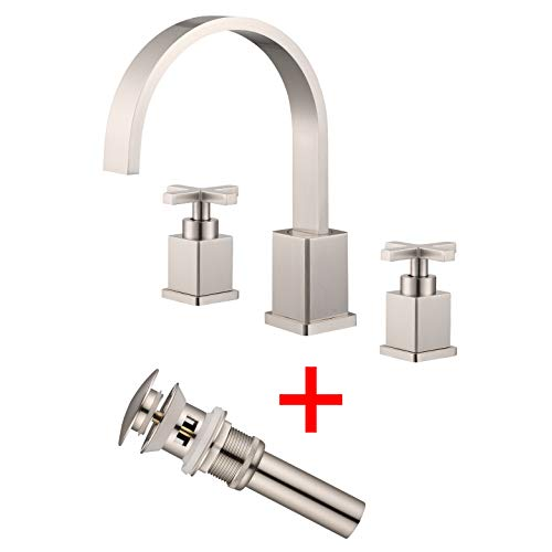 Two Handle Widespread Bathroom Faucet, 3 Hole Lavatory Bathroom Sink Faucet, 8 Inch Bathroom Vanity Faucet Roman Tub Faucet with Pop Up Drain Etel Y6899 (Brushed Nickel) - Handle Cross Kitchen