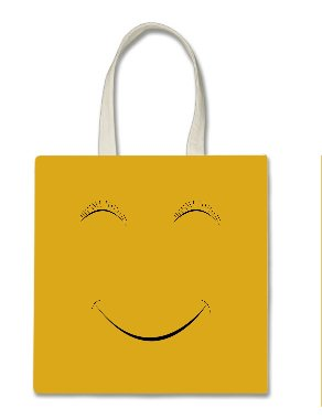 Cute Yellow Smiley Face Halloween Trick Or Treat Polyester White Tote Bag 15x16x 3.5 for $<!--$7.95-->