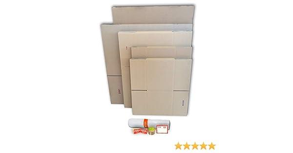 Cajas carton para mudanzas (Pack MEDIANO de 21 cajas + accesorios) - Cajas de canal simple, doble y de color marrón. Fabricadas en España.