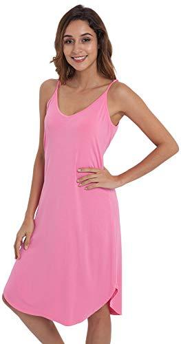 (NEIWAI Womens Full Slip Spaghetti Chemise Nightgown Cami Dress Raspberry Pink S)