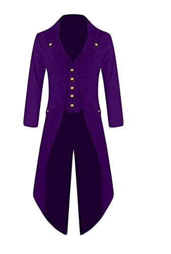 WSPLYSPJY Mens Tailcoat Jacket Gothic Steampunk Victorian VTG Halloween Costume Long Coat Purple XL