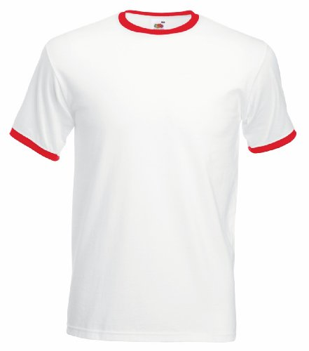 Fruit of the Loom Men's Contrast Ringer Short Sleeve T Shirt White/Red S (Of Ringer Loom Tee Fruit The)