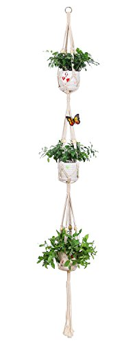 (Aozita Macrame Plant Hanger for Hanging Planter Baskets Indoor Outdoor - 3 Tier Large Plant Hangers with 2 Hooks - 70 Inches)