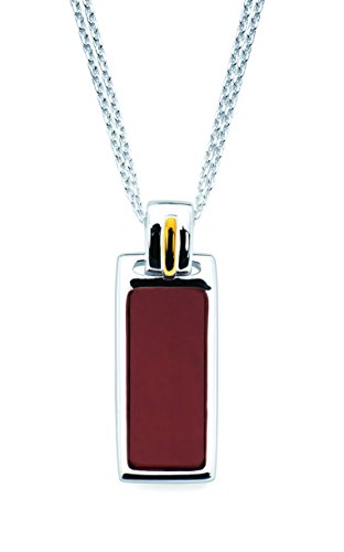 Boston Bay Diamonds 18K Gold and Sterling Silver Red Jasper Gemstone Pendant Necklace, 17
