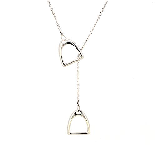 Double Stirrup Lariat Necklace- Sterling Silver