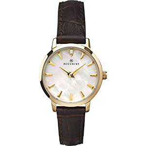Accurist Womens Japanese Quartz Watch With Crystal Stone Set Mother Of Pearl Dial, Genuine Leather Strap, Stainless…