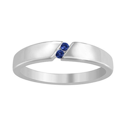 ArtCarved Tuxedo Genuine Blue Sapphire Men's Ring, Sterling Silver, Size 11 (Sapphire Tuxedo)