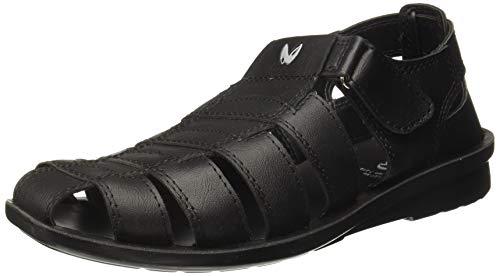 Walkaroo Men's Faux Leather Black Outdoor Sandals (13505)