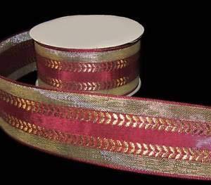 (3 Yards Burgundy Wine Red Metallic Gold Florentine Ribbon 1 1/2