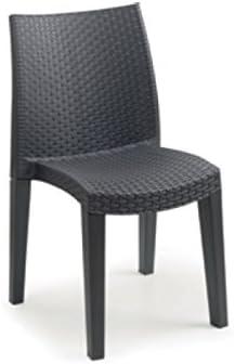 Sedia in resina similrattan antracite 55x48 cm H 86 cm LADY