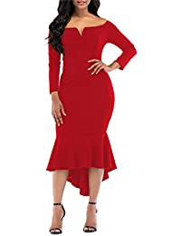 ONLYSHE Slim Fit Gown Pencil Dress High Low V-Neck Sexy Dress for Women Red