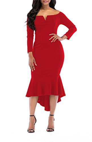 onlypuff Red Midi Dresses for Women Long Sleeve Mermaid Cocktail Dress Solid Color S