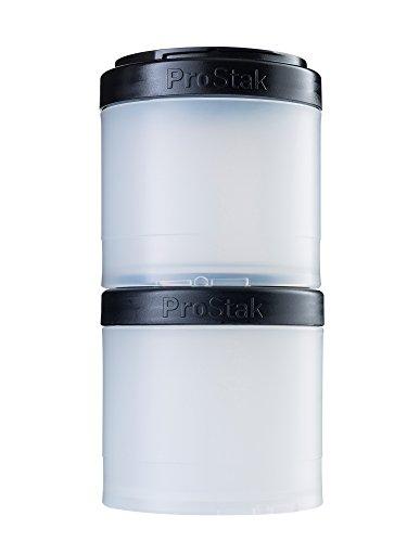 BlenderBottle ProStak Twist n Lock Storage Jars Expansion 2-Pak with Pill Tray, White/Black