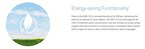 D-Link USB 3.0 to Gigabit Ethernet Adapter - USB to RJ45 for 10/100/1000 Network - Windows and Mac OS (DUB-1312)