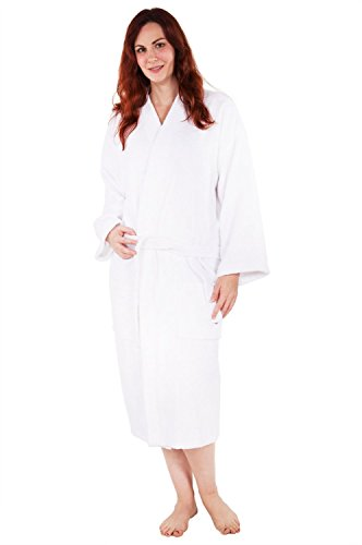 Wholesale Robes (100% Pure Cotton Turkish Terry Kimono Bathrobe - White - Small Medium)