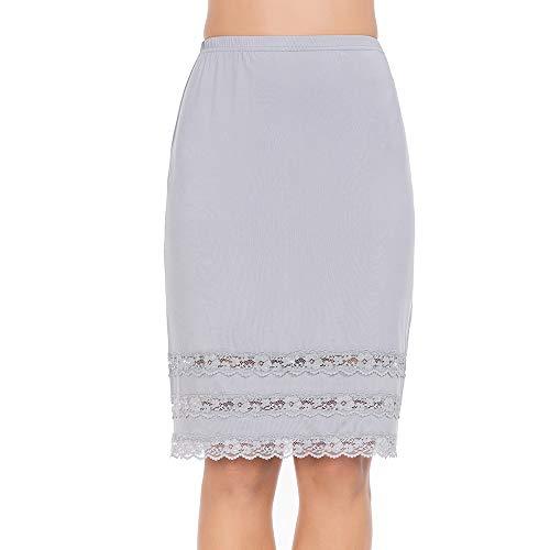 Half Slips for Women Underskirt Dress Extender Lace Trim Knee Length Midi Skirt Gray ()