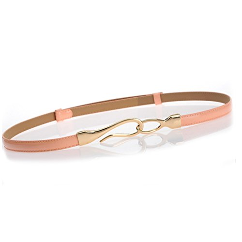Nanxson(TM) Women's Solid Skinny Leather Buckle Belt Multi-colors PDW0002 pink