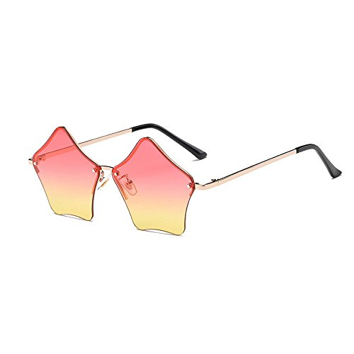 MINCL/Super Cute Star Shape Rimless Sunglasses Metal Frame Transparent Candy Color Eyewear - Sunglasses Star Red